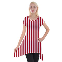 Red Stripes Short Sleeve Side Drop Tunic by jumpercat