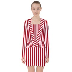 Red Stripes V Neck Bodycon Long Sleeve Dress by jumpercat