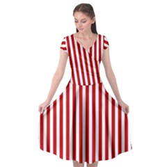 Red Stripes Cap Sleeve Wrap Front Dress by jumpercat