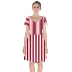 Red Stripes Short Sleeve Bardot Dress by jumpercat