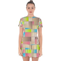 Background Abstract Grid Drop Hem Mini Chiffon Dress by Nexatart