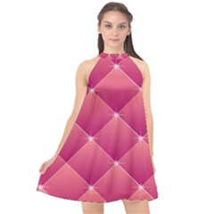 Pink Background Geometric Design Halter Neckline Chiffon Dress