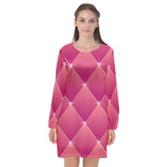 Pink Background Geometric Design Long Sleeve Chiffon Shift Dress