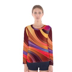 Abstract Colorful Background Wavy Women s Long Sleeve Tee by Nexatart