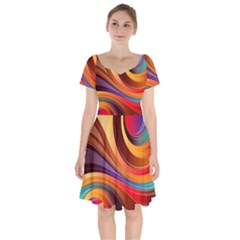 Abstract Colorful Background Wavy Short Sleeve Bardot Dress by Nexatart