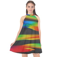 Colorful Background Halter Neckline Chiffon Dress