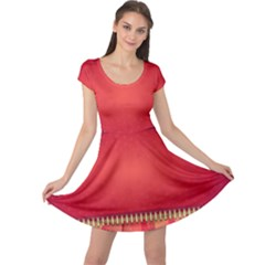 Background Red Abstract Cap Sleeve Dress