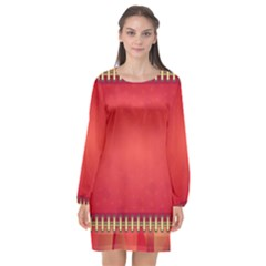 Background Red Abstract Long Sleeve Chiffon Shift Dress