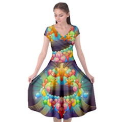 Badge Abstract Abstract Design Cap Sleeve Wrap Front Dress by Nexatart