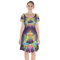 Badge Abstract Abstract Design Short Sleeve Bardot Dress by Nexatart