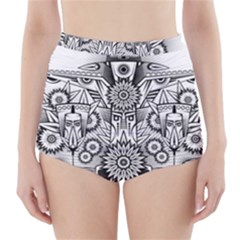 Forest Patrol Tribal Abstract High Waisted Bikini Bottoms
