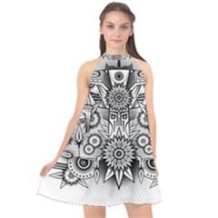 Forest Patrol Tribal Abstract Halter Neckline Chiffon Dress  by Nexatart