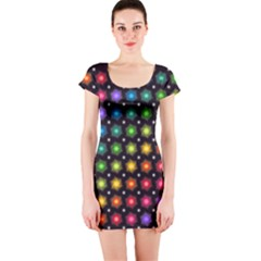 Background Colorful Geometric Short Sleeve Bodycon Dress by Nexatart