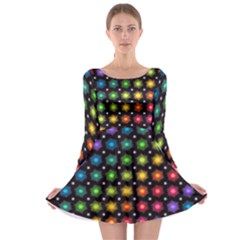 Background Colorful Geometric Long Sleeve Skater Dress by Nexatart