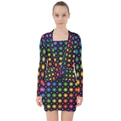 Background Colorful Geometric V Neck Bodycon Long Sleeve Dress by Nexatart