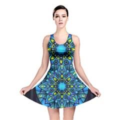 Mandala Blue Abstract Circle Reversible Skater Dress