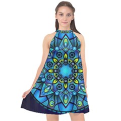 Mandala Blue Abstract Circle Halter Neckline Chiffon Dress