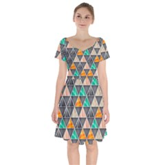 Abstract Geometric Triangle Shape Short Sleeve Bardot Dress by Nexatart