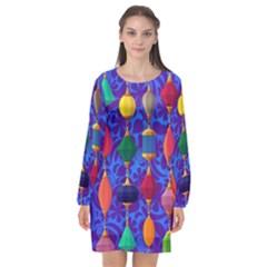 Colorful Background Stones Jewels Long Sleeve Chiffon Shift Dress  by Nexatart