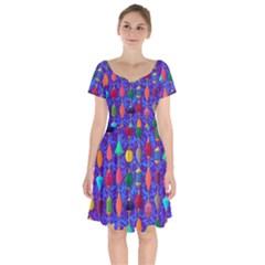 Colorful Background Stones Jewels Short Sleeve Bardot Dress by Nexatart