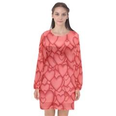 Background Hearts Love Long Sleeve Chiffon Shift Dress