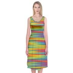 Colorful Background Midi Sleeveless Dress