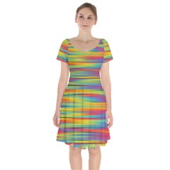 Colorful Background Short Sleeve Bardot Dress by Nexatart