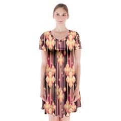 Seamless Pattern Patterns Short Sleeve V Neck Flare Dress by Nexatart