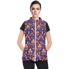 Abstract Background Floral Pattern Women s Puffer Vest by Nexatart