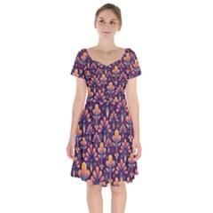 Abstract Background Floral Pattern Short Sleeve Bardot Dress by Nexatart