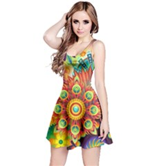 Colorful Abstract Background Colorful Reversible Sleeveless Dress