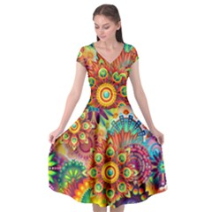 Colorful Abstract Background Colorful Cap Sleeve Wrap Front Dress by Nexatart