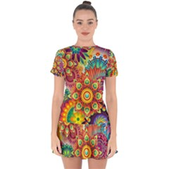 Colorful Abstract Background Colorful Drop Hem Mini Chiffon Dress by Nexatart
