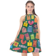 Presents Gifts Background Colorful Halter Neckline Chiffon Dress  by Nexatart