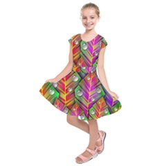 Abstract Background Colorful Leaves Kids  Short Sleeve Dress