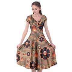Background Floral Flower Stylised Cap Sleeve Wrap Front Dress by Nexatart