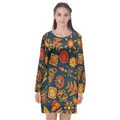 Pattern Background Ethnic Tribal Long Sleeve Chiffon Shift Dress  by Nexatart
