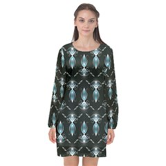 Seamless Pattern Background Long Sleeve Chiffon Shift Dress