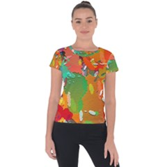 Background Colorful Abstract Short Sleeve Sports Top  by Nexatart