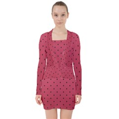 Watermelon Minimal Pattern V Neck Bodycon Long Sleeve Dress by jumpercat