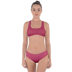 Watermelon Minimal Pattern Criss Cross Bikini Set