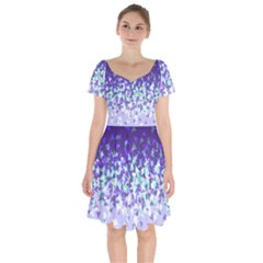 Purple Disintegrate Short Sleeve Bardot Dress by jumpercat