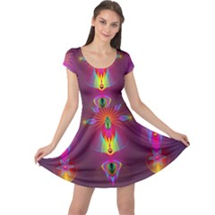 Abstract Bright Colorful Background Cap Sleeve Dress