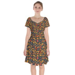 Pattern Background Ethnic Tribal Short Sleeve Bardot Dress by Nexatart