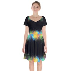 Frame Border Feathery Blurs Design Short Sleeve Bardot Dress by Nexatart