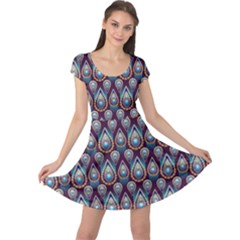 Seamless Pattern Pattern Cap Sleeve Dress