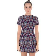 Seamless Pattern Pattern Drop Hem Mini Chiffon Dress