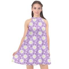 Daisy Dots Lilac Halter Neckline Chiffon Dress  by snowwhitegirl