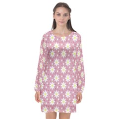 Daisy Dots Pink Long Sleeve Chiffon Shift Dress  by snowwhitegirl