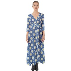 Daisy Dots Blue Button Up Boho Maxi Dress by snowwhitegirl